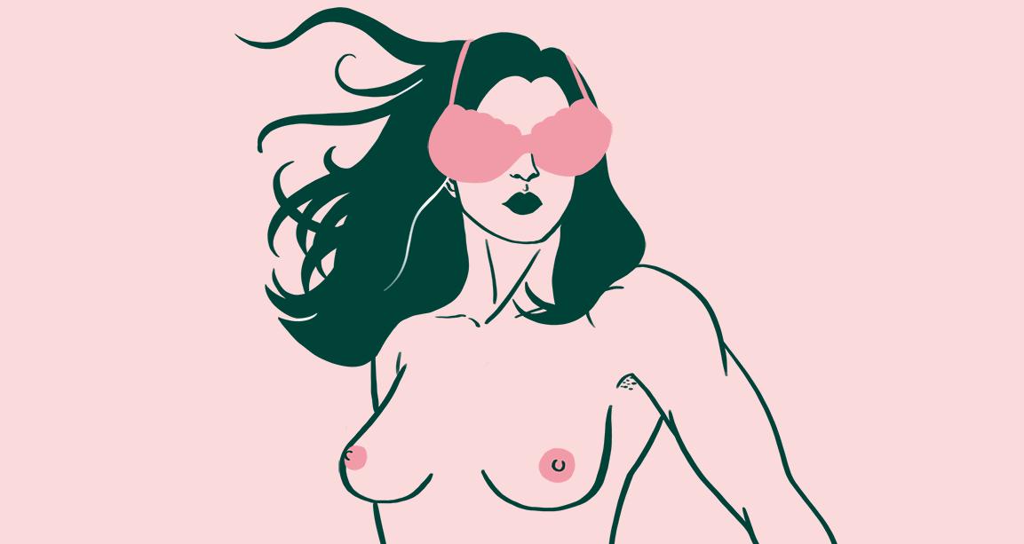 Illustration d'une femme seins nus, le torse bombé, qui regarde au loin, cheveux dans le vent, un soutien-gorge sur les yeux, à la manière d'œillères.