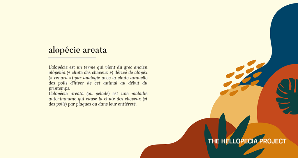 """alopécie areata L'alopécie est un terme qui vient du grec ancien alôpekia (""""chute des cheveux"""") dérivé de alốpêx (""""renard"""") par analogie avec la chute annuelle des poils d'hiver de cet animal au début du printemps. L'alopécie areata (ou pelade) est une maladie auto-immune qui cause la chute des cheveux (et des poils) par plaques ou dans leur entièreté."""