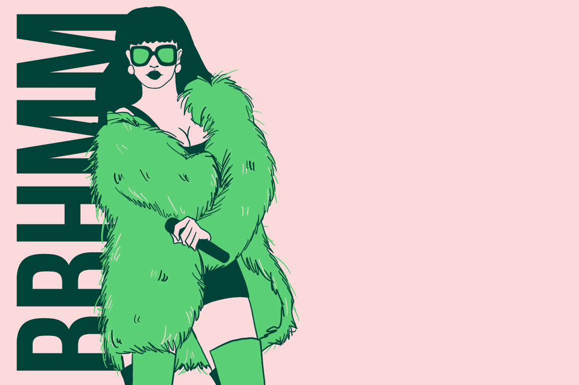 Rihanna en fourrure verte micro en main, cuissarde vertes et lunettes vertes. En arrière plan les lettres BBHMM pour le slogan Beach better have my money