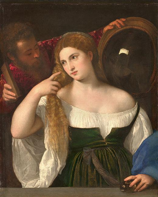 Peinture La femme au miroir de Titien