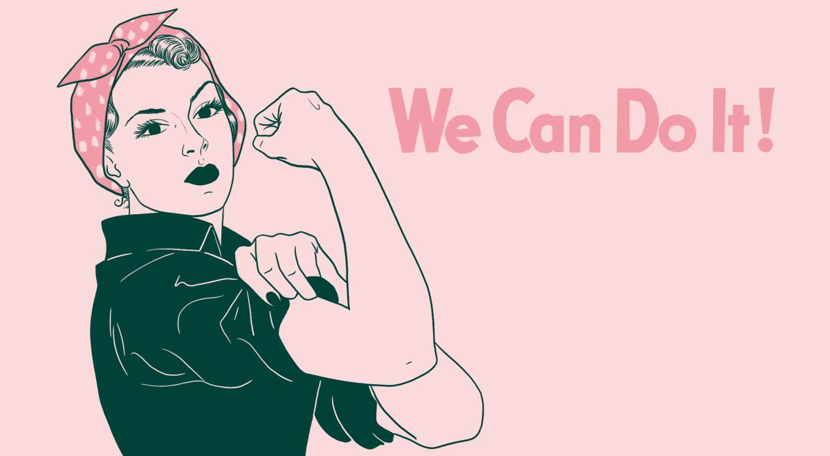 Image de Rosie la riveteuse, fichue à pois rose et blanc sur la tête, chemise dont elle relève la manche, le point levé en signe de force.
