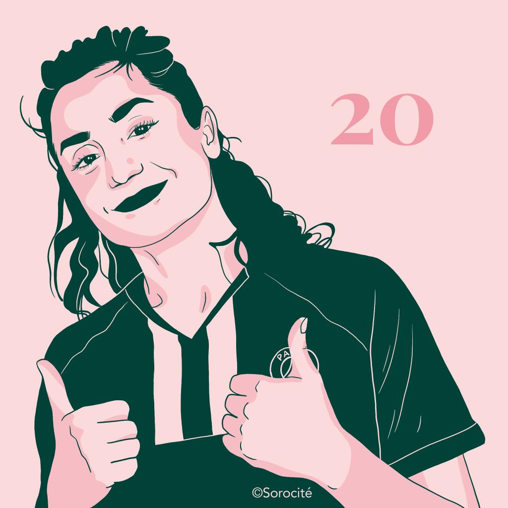 Nadia Nadim en t-shirt du PSG levant les pouces en l'air avec le sourire en format portrait et le numéro 20 à côté de son visage.