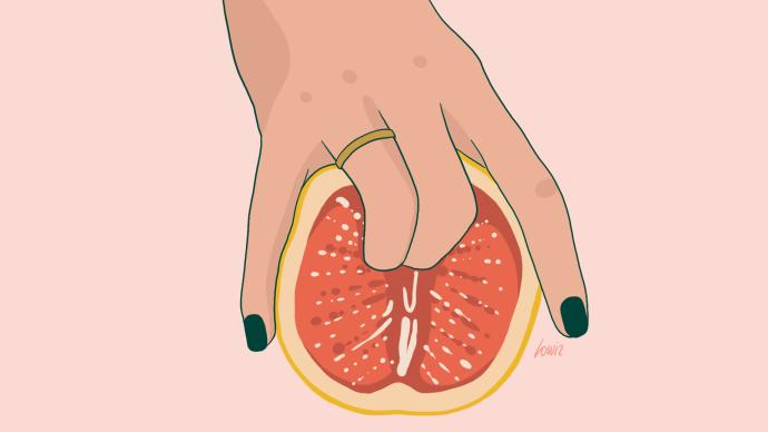 Deux doigts dans un pamplemousse